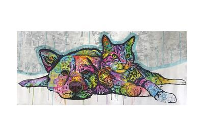 Companions, Cats, Dogs, Drips, Pets, Colorful, Pop Art, Tom and Jerry, Laying Down, Animals
