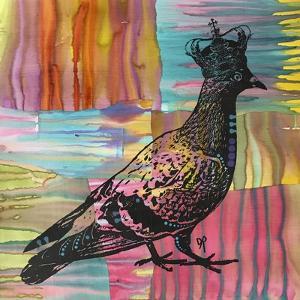 King Of The Free World, Birds, Pets, Pigeon, Crown, Pop Art, Watercolor, Stencils, Drips, Strut by Russo Dean