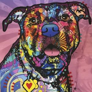 Love Face, Dogs, Pets, Pop Art, Pink, Sun Ray, Stencils, Happy, Expecting, Looking for a treat by Russo Dean
