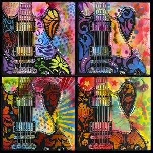 Lucille 4X, Guitars, Four Up, String Instruments, Music, Rock, Pop Art, 4 square, Psychedelic by Russo Dean