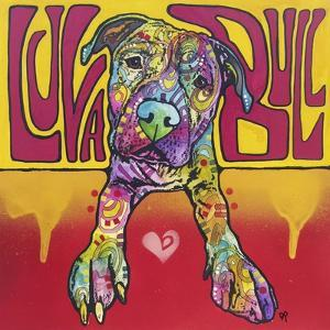 Luva Bull, Lovable, Pit Bulls, Dogs, Pets, Animals, Red and Yellow, Pop Art, Stencils, Laying down by Russo Dean