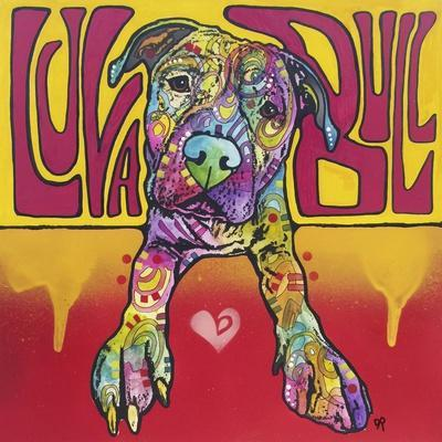Luva Bull, Lovable, Pit Bulls, Dogs, Pets, Animals, Red and Yellow, Pop Art, Stencils, Laying down