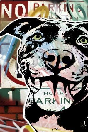 MS Understood NO PARKING, Road Signs, Dogs, Pets, Stencils, Happy, Panting, Tongue, Pop Art