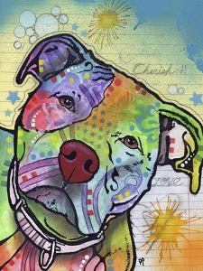 Scholar, Dogs, Pets, Animals, Pit Bulls, Looking up, Cherish, Lined Paper, Pop Art, Stencils by Russo Dean