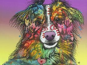 The Look, Dogs, Pets, Animals, White Snout, Purple yellow, Long hair, Pop Art, Stencils, Colorful by Russo Dean