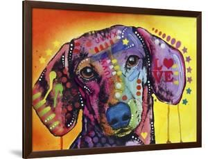Tilt Dachshund Love, Dogs, Animals, Pets, Red Yellow, Doxie, Loving, Drips, Pop Art, Colorful by Russo Dean