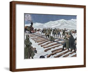 Russo-Japanese War (1904-1905). Construction of a Railroad across the Ice on Lake Baikal. Coloured