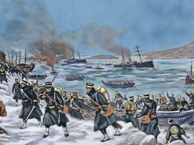Russo-Japanese War (1904-1905). Landing of Japanese Troops in Chemulpo. Coloured--Giclee Print
