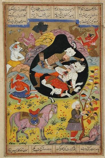 Rustam Slays the White Div, 1608-Mughal School-Giclee Print
