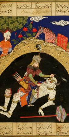"Rustam Slays the White Div of Mazandaran, Illustration from the ""Shahnama"""