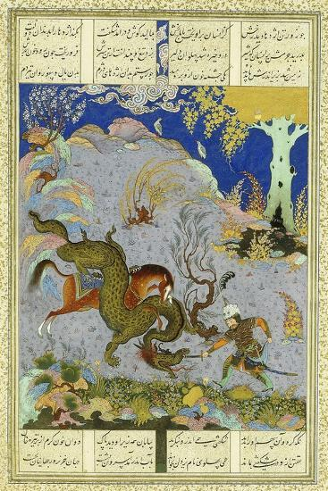 Rustem Slays the Dragon, C.1500-1540S (Gouache and Gold Paint on Buff Paper)--Giclee Print