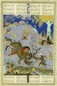 Rustem Slays the Dragon, C.1500-1540S (Gouache and Gold Paint on Buff Paper)