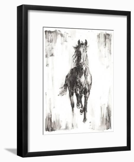 Rustic Black Stallion I--Framed Art Print