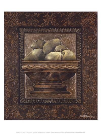 Rustic Bowl of Pears-Linda Thompson-Art Print