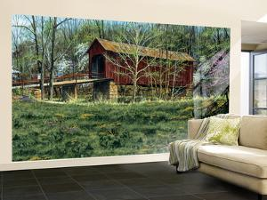 Rustic Covered Bridge Surrounded By The First Buds Of Spring Huge Mural Art Print Poster