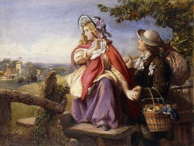 Rustic Lovers Crossing a Style, C.1860--Giclee Print