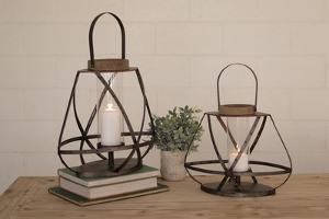 Rustic Metal Lantern Pair