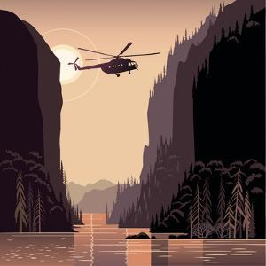 Mountain Landscape and Helicopter. Taiga. Evening Light Sunset. Illustration about Expedition. by Rustic
