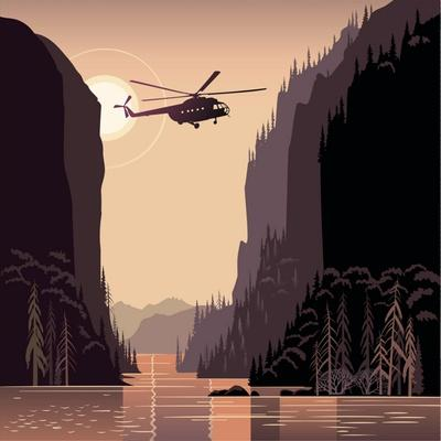 Mountain Landscape and Helicopter. Taiga. Evening Light Sunset. Illustration about Expedition.
