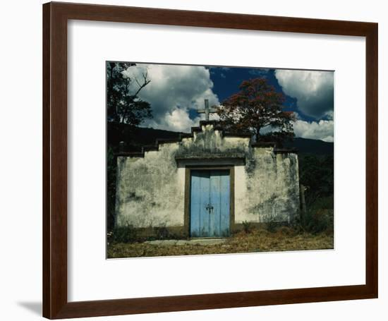 Rustic Rural Church in Central Venezuela Welcomes with a Blue Door-David Evans-Framed Photographic Print