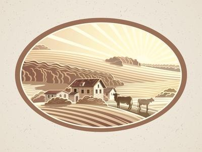 Rural Landscape in the Frame in Monochrome Color, a Graphic Design Element for the Create of the La