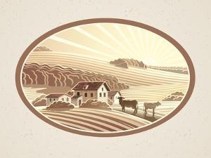 Rural Landscape in the Frame in Monochrome Color, a Graphic Design Element for the Create of the La by Rustic
