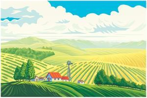 Rural Landscape with a Beautiful View of Distant Fields and Hills. Vector Illustration. by Rustic
