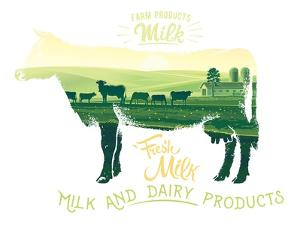 Silhouette of a Cow Combined with the Rural Landscape on a White Background and Inscriptions. by Rustic
