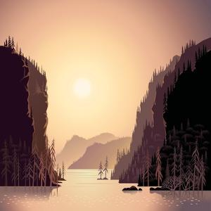 Sunrise in Wild Nature, Landscape with Mountains and Water, Taiga and Forest. by Rustic