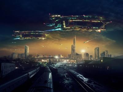 Urban Landscape of Post Apocalyptic Future with Flying Spaceships or Life after a Global War. Digit