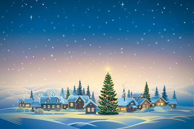 Winter Festive Landscape with Village and Christmas Trees. Raster Illustration.