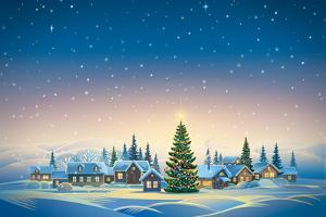 Winter Festive Landscape with Village and Christmas Trees. Raster Illustration. by Rustic