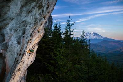 Rustin Gibson Rock Climbs On Steep Sandstone, Small Crag Near Mineral, Washington. Mt Rainier Bkgd-Ben Herndon-Photographic Print