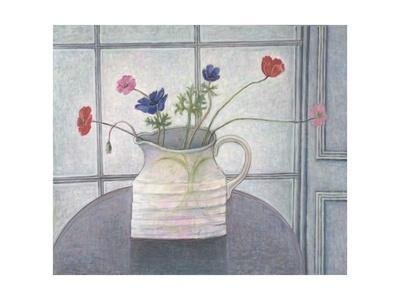 Anemones and Poppies in White Jug