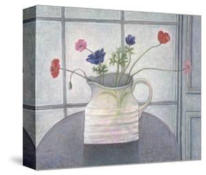 Anemones and Poppies in White Jug by Ruth Addinall