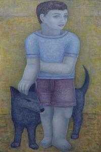Boy with Dog by Ruth Addinall