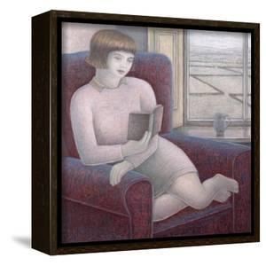 Girl Reading in Armchair by Ruth Addinall