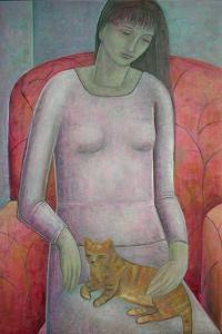 Woman with Cat, 2014 by Ruth Addinall
