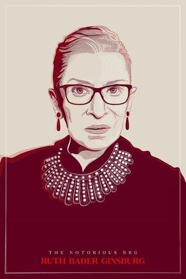 Ruth Bader Ginsburg - The Notorious RBG (Red)--Art Print