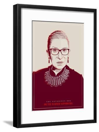Ruth Bader Ginsburg - The Notorious RBG (Red)--Framed Art Print