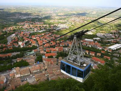 Cable Car Ascending to Medieval Centre of San Marino on Titan Mountain