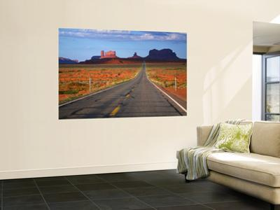 Interstate 163 Approaching Monument Valley with Sentinel Mesa in Backgound