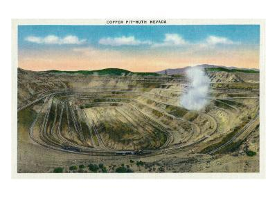 Ruth, Nevada, Panoramic View of a Copper Mine-Lantern Press-Art Print