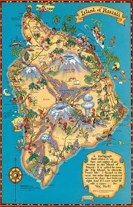 Hawaiian Island of Hawaii (Big Island) Map - Hawaii Tourist Bureau by Ruth Taylor White