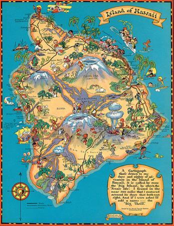 Hawaiian Island of Hawaii (Big Island) Map - Hawaii Tourist Bureau