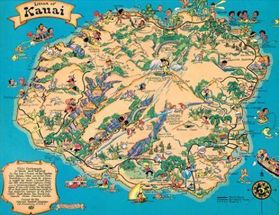Hawaiian Island of Kauai Map - Hawaii Tourist Bureau by Ruth Taylor White