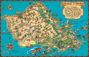 Hawaiian Island of Oahu Map by Ruth Taylor White