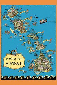 Summer Fun in Hawaii Map - Hawaii Tourist Bureau by Ruth Taylor White