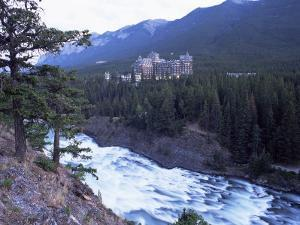 Banff, the Bow Falls and Prestigious Banff Springs Hotel, at Dusk, Alberta, Canada by Ruth Tomlinson