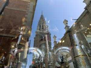 Cathedral Reflected in Window of Shop Selling Medieval Armour, Toledo, Castilla-La Mancha, Spain by Ruth Tomlinson